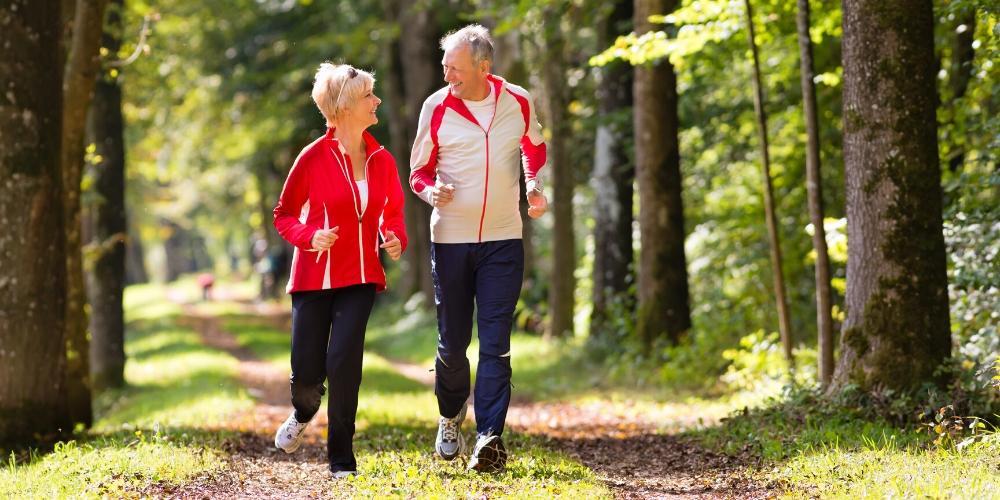 Seniors enjoying jogging